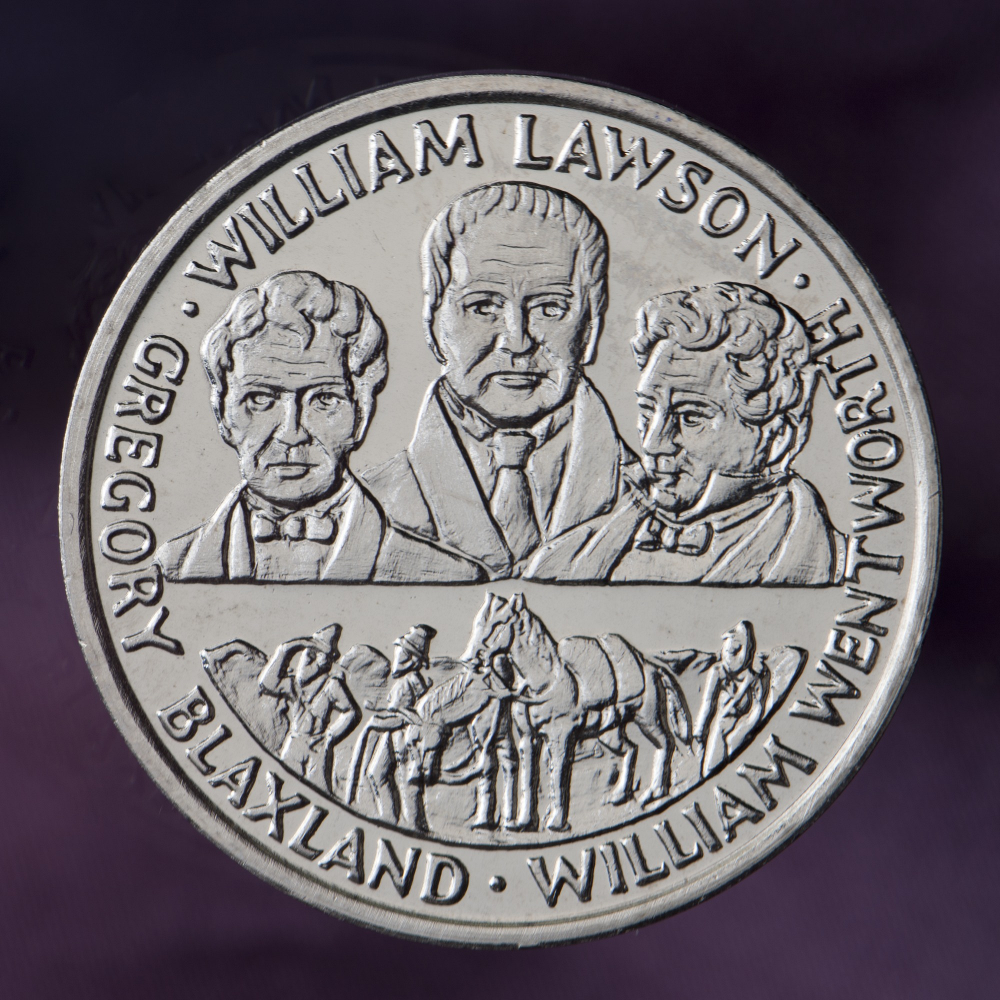 Australian bicentennial commemorative medal depicting explorers Blaxland, Wentworth and Lawson