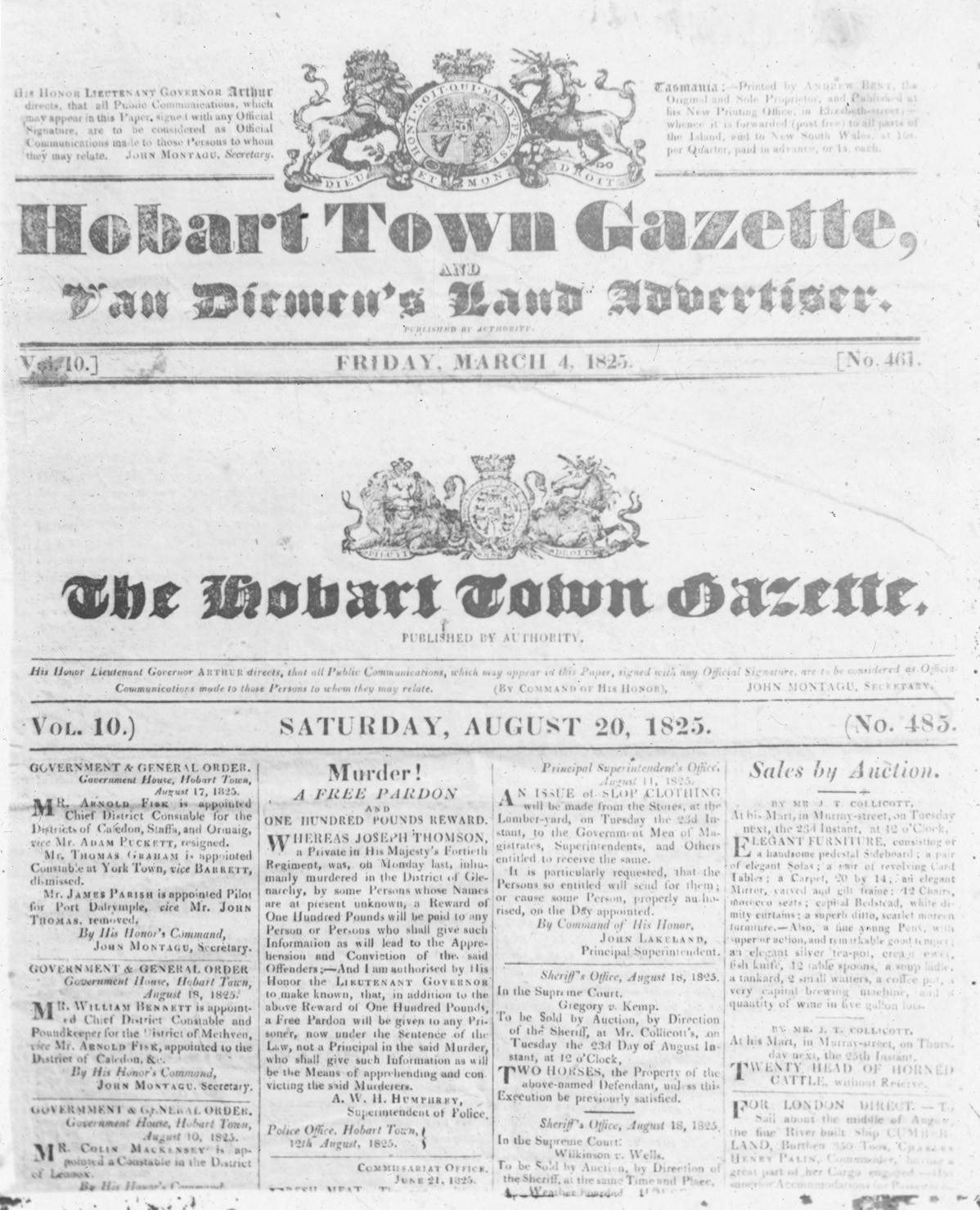 <p>Front page of the <em>Hobart Town Gazette</em>, 4 March 1825</p>