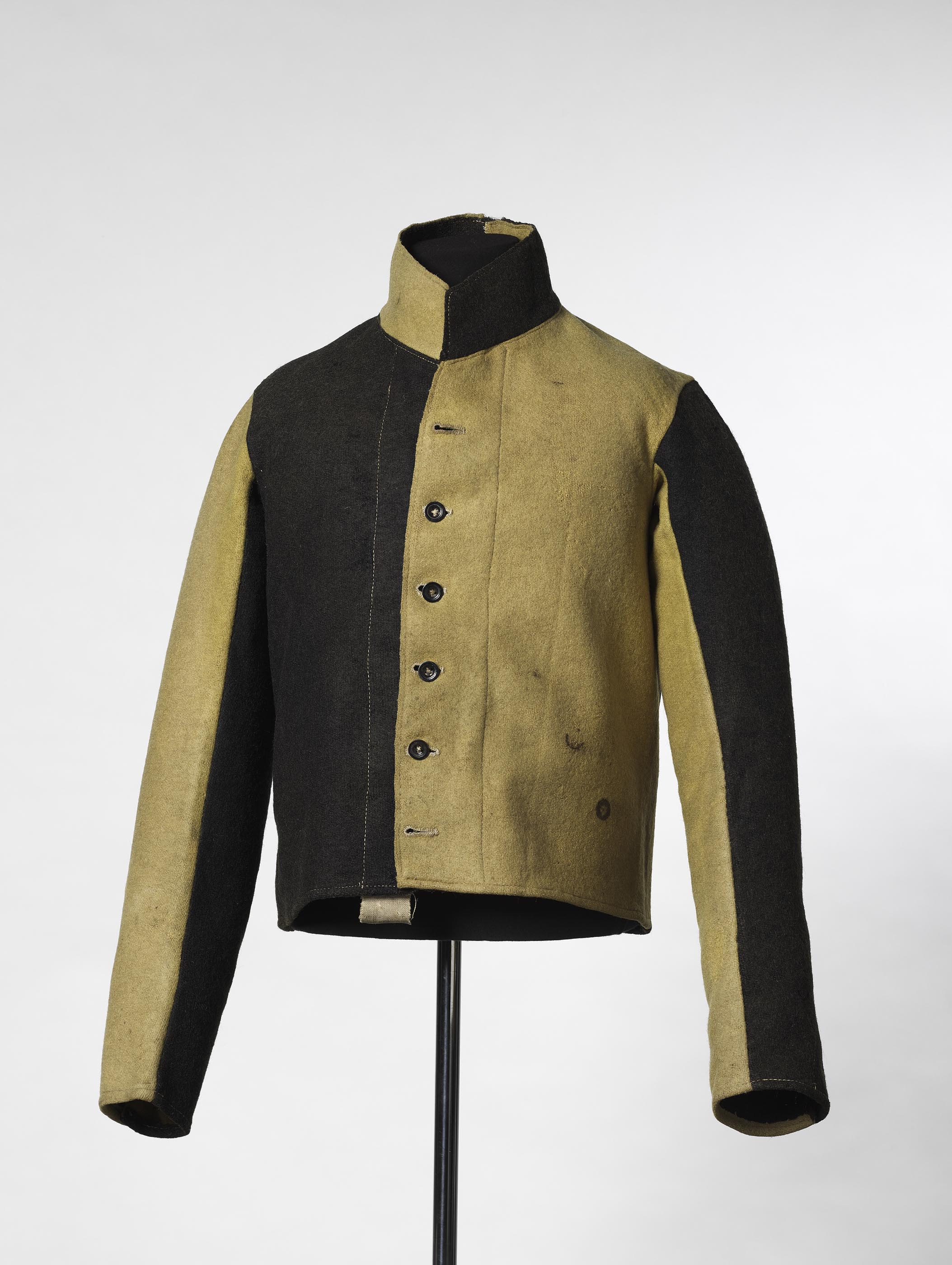 Convict's black and yellow woollen work jacket, from Campbell Street Goal, Hobart, late 1850s.