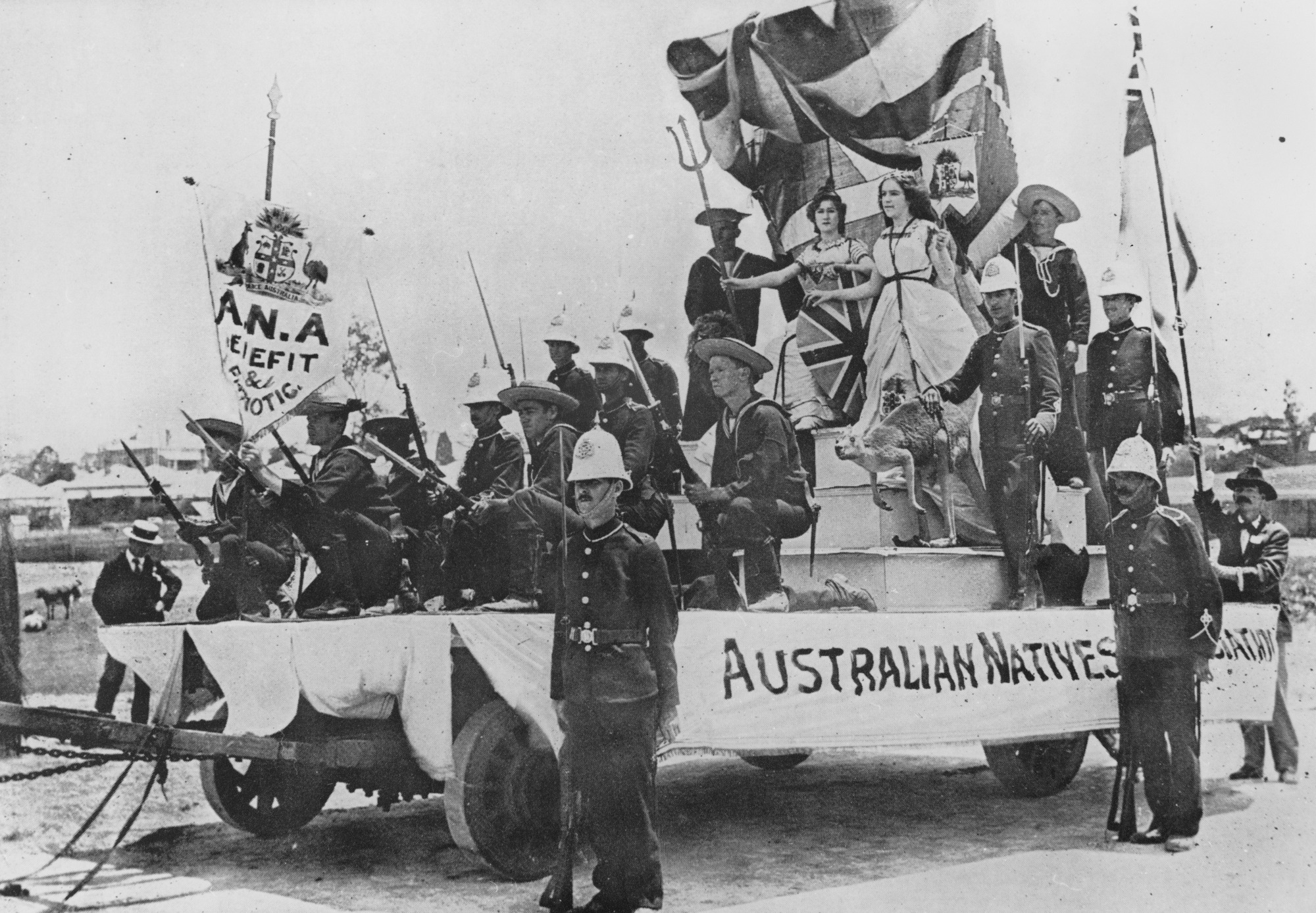 Australian Natives' Association float participating in Australian Commonwealth celebrations, Brisbane, 1901.