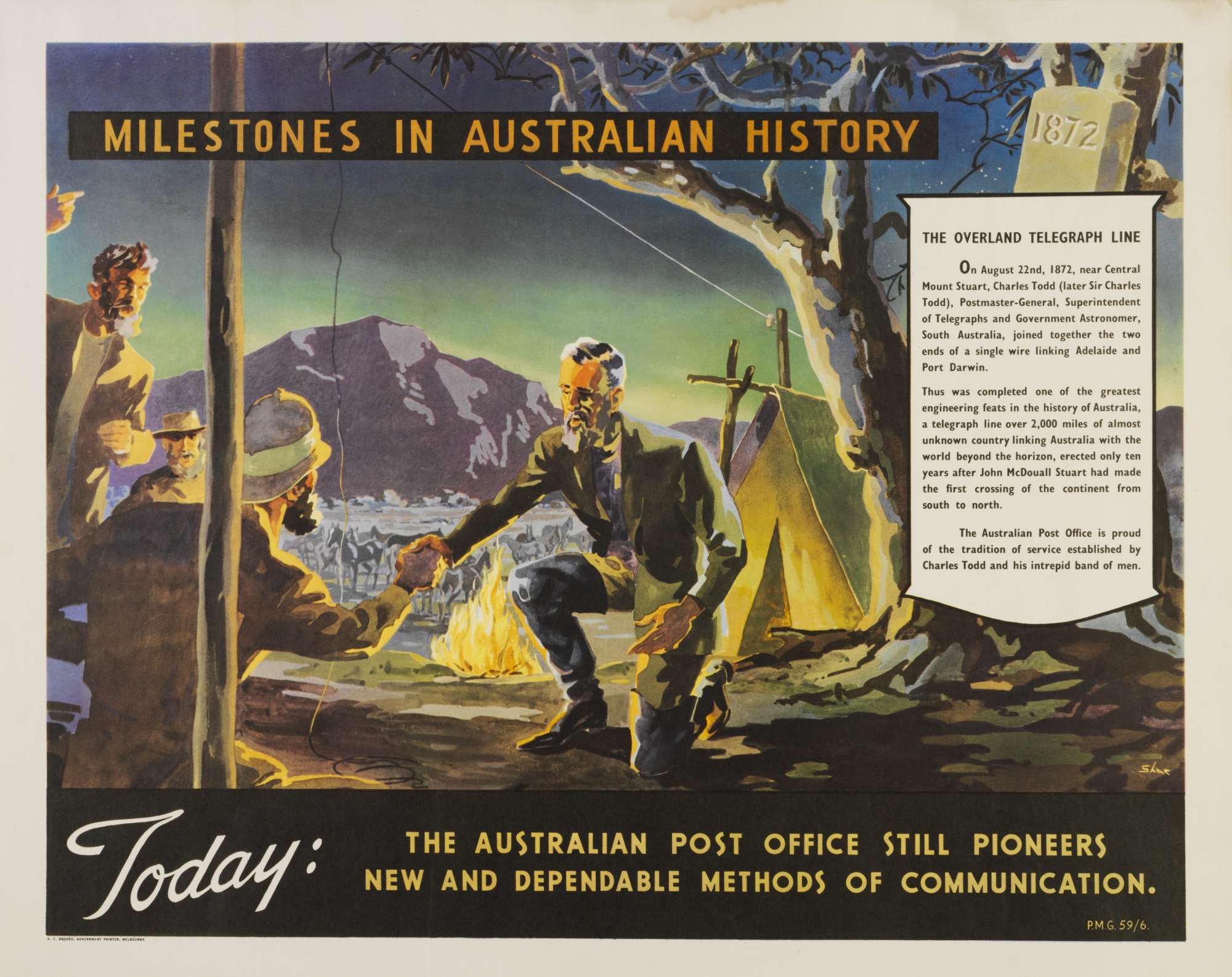 <p>Poster titled 'The Australian Post Office still pioneers new and dependable methods of communication'</p>