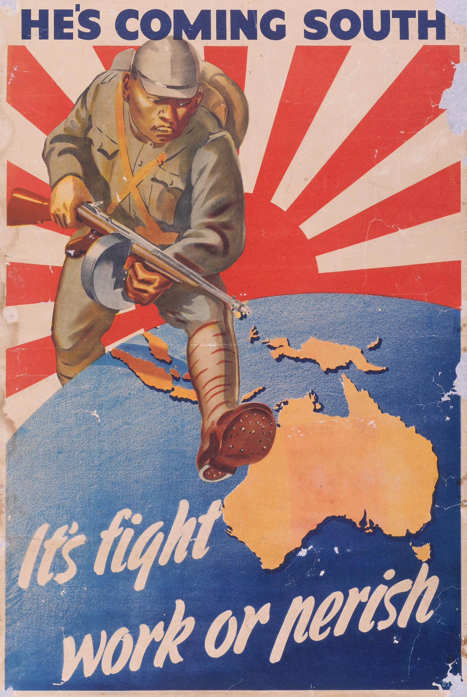 A propaganda poster referring to the threat of Japanese invasion, 1942.