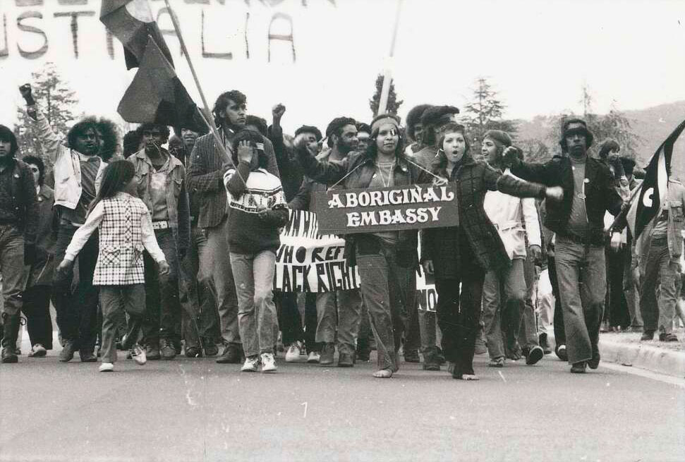 Demonstration march from the Tent Embassy, Parliament House, Canberra, 30 July 1972.