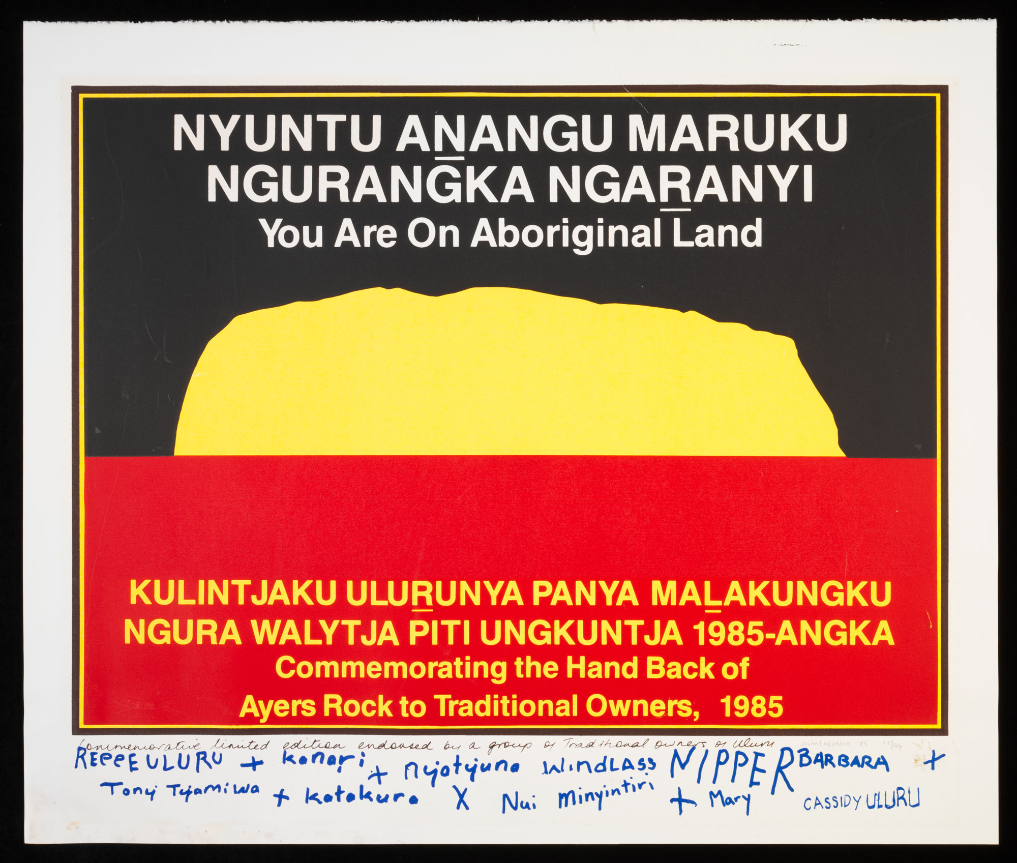 Commemorative poster presented to Governor-General Sir Ninian Stephen on the occasion of the handing back of Uluru to its traditional owners in 1985.