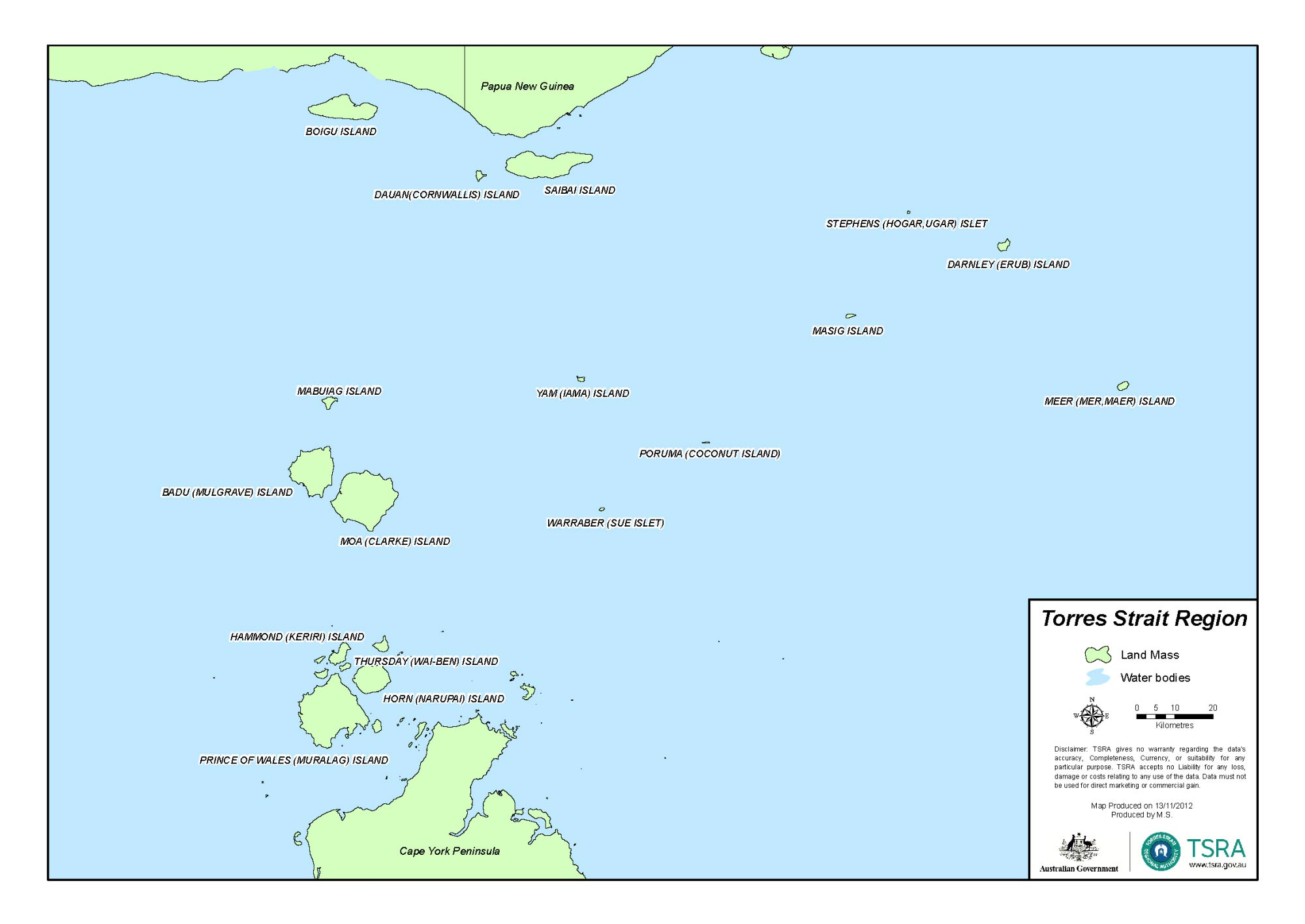 Map of the Torres Strait.