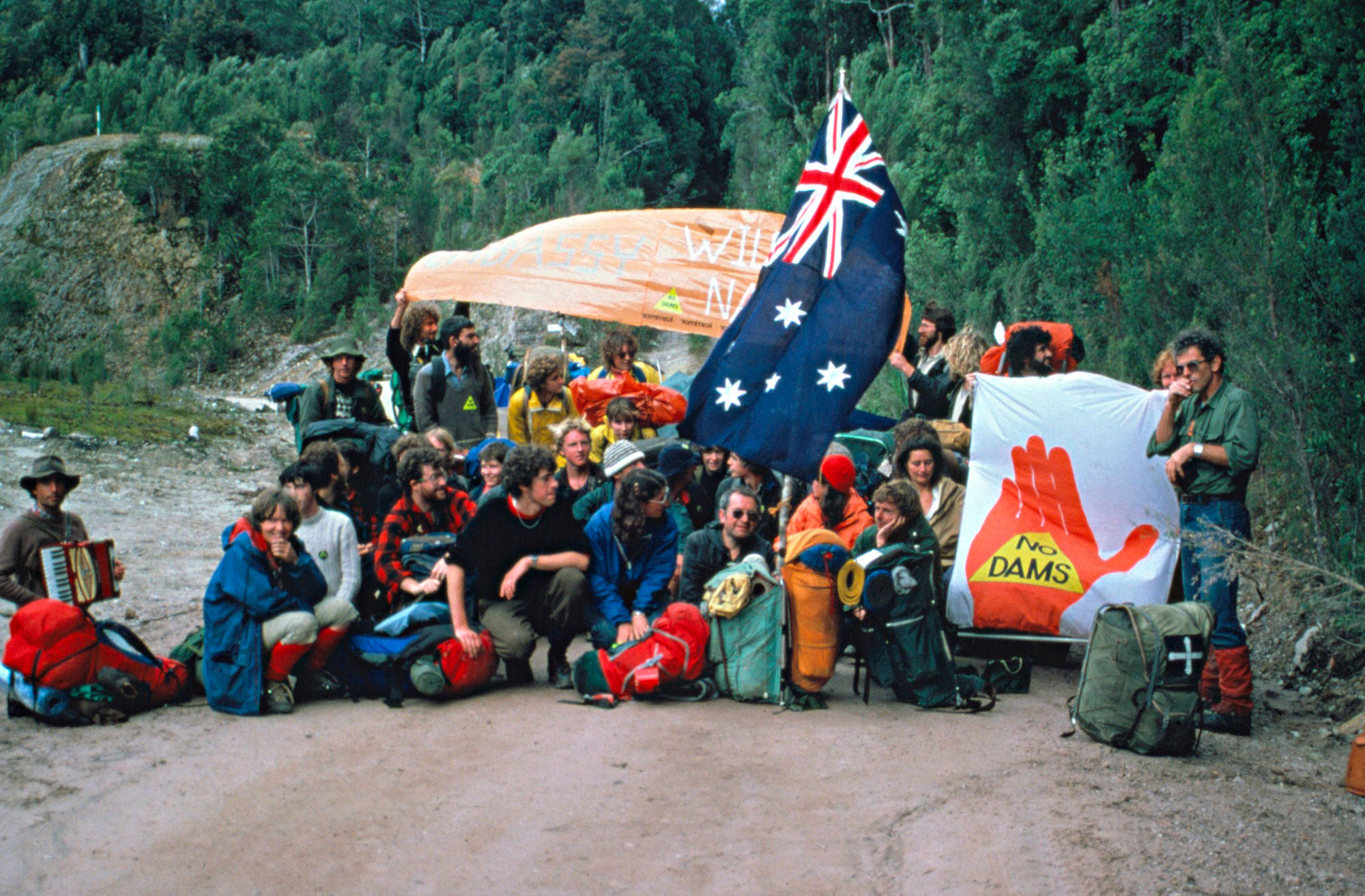 <p>Franklin Dam protesters at the dam&nbsp;site, 1982</p>