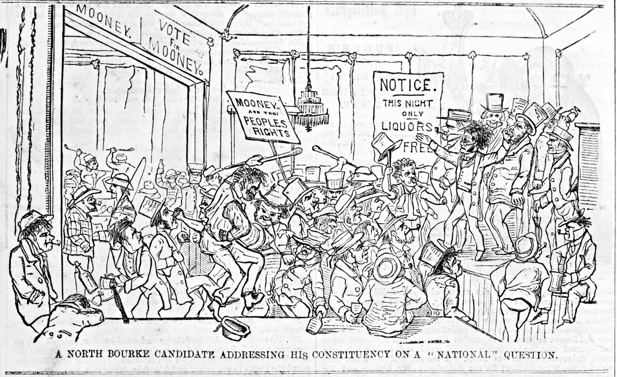 Electioneering in the pub, published by Edgar Ray and Frederick Sinnett, 1855.