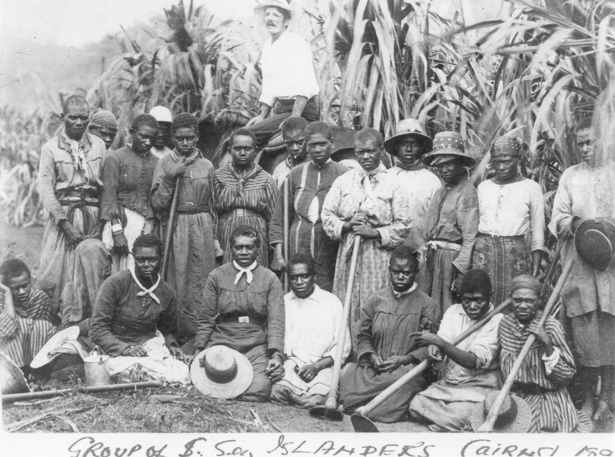 Group of Australian South Sea Islander women labourers on a sugar cane plantation near Cairns, Queensland, about 1895.