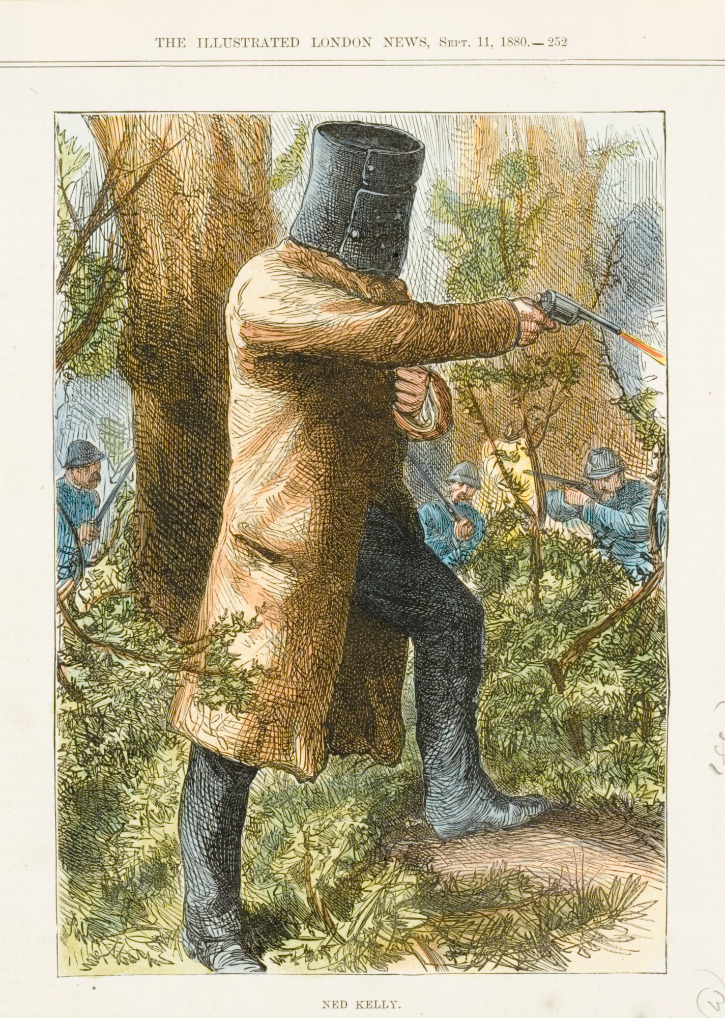Woodcut of Ned Kelly, The Illustrated London News.