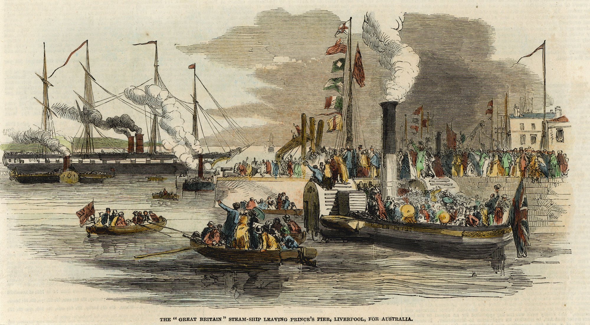 The SS Great Britain steam ship leaving Prince's Pier, Liverpool, for Australia, 1852.
