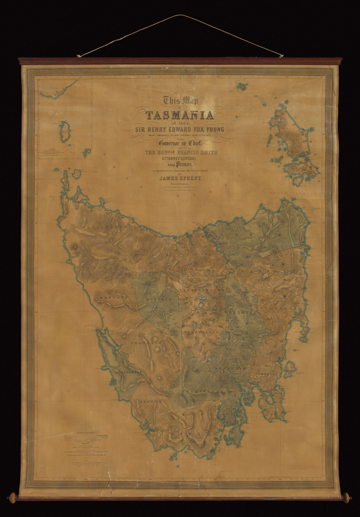 Map of Tasmania by James Sprent, 1859.