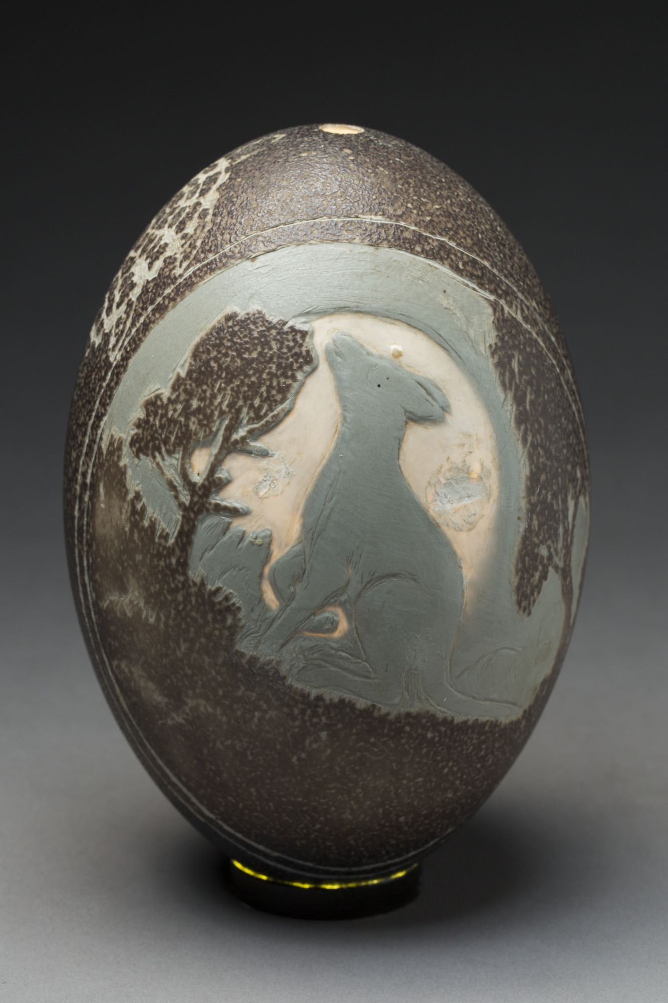 Emu egg carved with image of a dingo and possum, by Bill Reid.