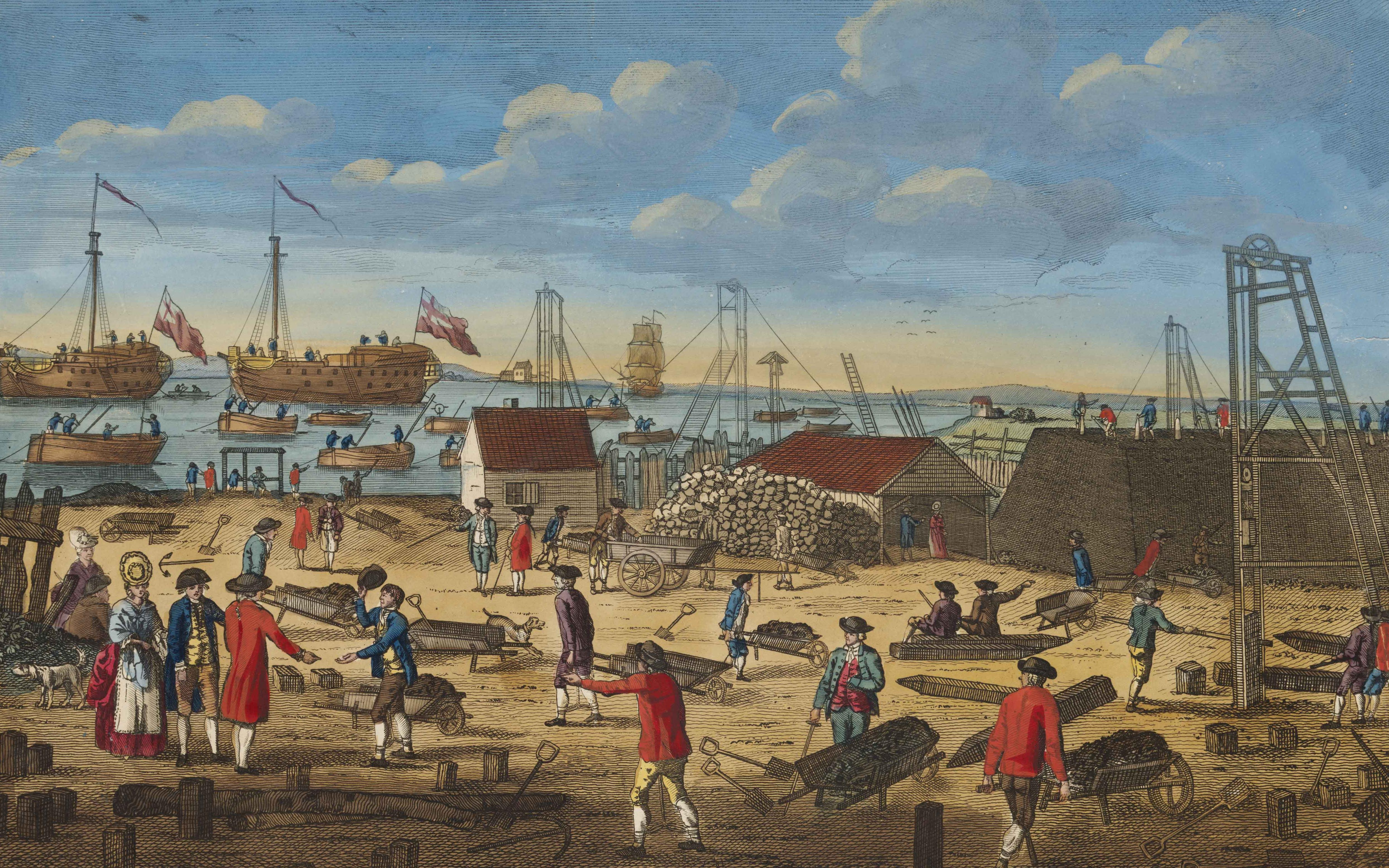 'View near Woolwich in Kent shewing [sic] the employment of the convicts from the hulks', about 1800.