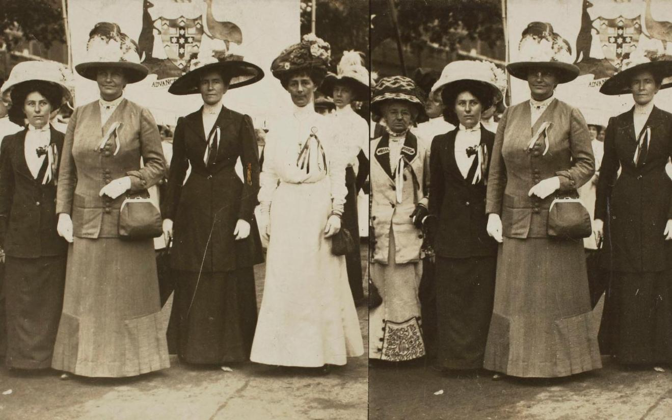 Suffragists (including Australians) demonstrate in London, England, about 1910.