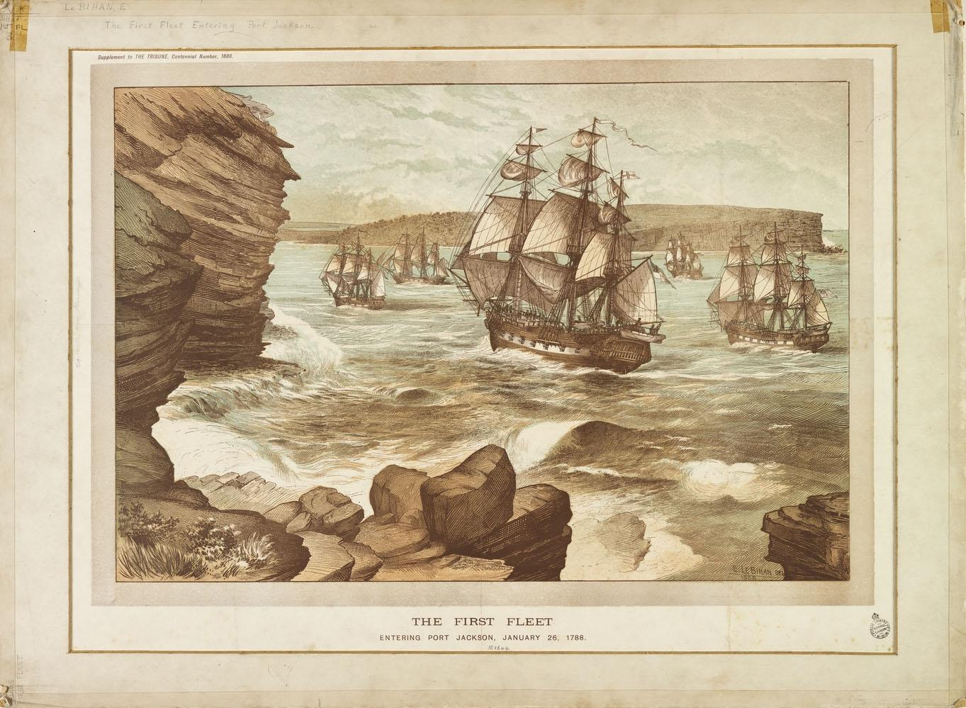 The First Fleet entering Port Jackson, January 26, 1788, by E. Le Bihan. Drawn in 1888
